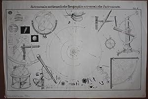 Astronomische, mathematische Geographie, astronomische Instrumente, Lithographie um 1840, Blattgr&...