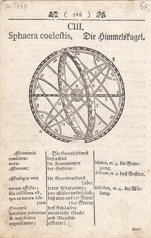 Sphaera Coelestis, Die Himmelskugel, Kupferstich um 1750, Blattgröße: 16 x 10,5 cm, ...