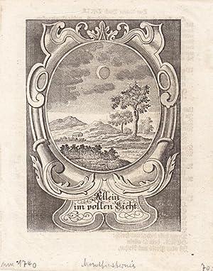 """Mondfinsternis, schöne Darstellung um 1740 in einem Schmuckrahmen mit der Inschrift """"..."""