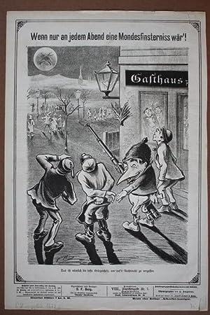 Mondfinsternis, Lithographie von 1877 mit einer Karikatur zur Mondfinsternis, Blattgröße...