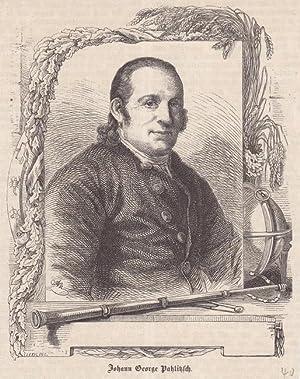 Johann Georg Palitzsch, Holzstich um 1850 mit dem Portrait des Naturwissenschaftlers in einem ...