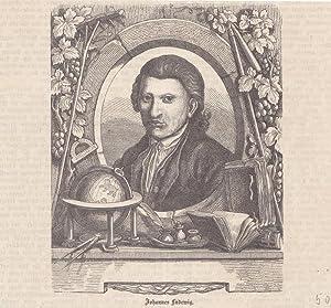 Johannes Ludewig, Holzstich um 1850 mit Portrait in einem Schmuckrahmen, Blattgröße: 16 ...