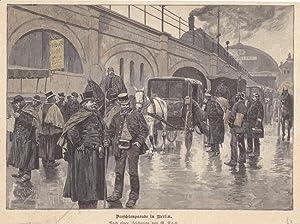 Droschkenparade in Berlin, schöner Holzstich um 1890 nach einer Zeichnung von G. Koch, Blattgr...