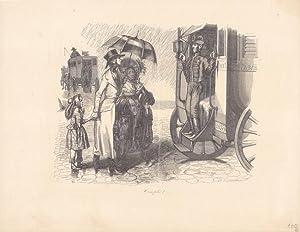 Das überfüllte Fuhrwerk, Holzstich von 1839 mit einer Familie, die im Regen zurück ...