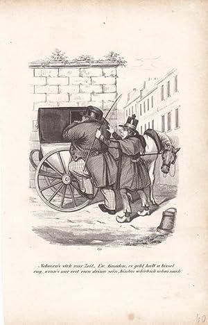 Einspänner, Kutsche, Holzstich um 1840 auf dem ein übergewichtiger Herr versucht in eine ...