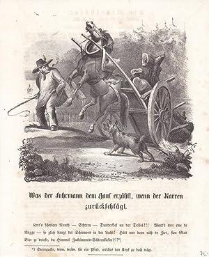 Überladenes Fuhrwerk, Lithographie um 1830 auf der ein Wagen aufgrund von Überlast nach ...