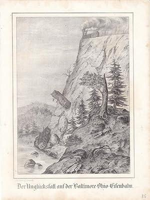 Der Unglücksfall auf der Baltimore-Ohio-Eisenbahn, schöne Lithographie von 1853 mit der ...