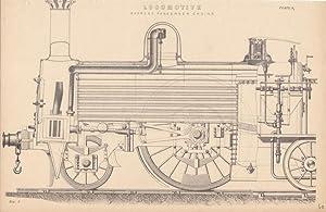 Lokomotive im Aufriss, Stahlstich um 1868, Blattgröße: 16 x 24,5 cm, reine Bildgrö&...