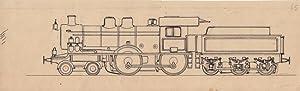 Lokomotive, Handzeichnung um 1930 einer Lokomotive mit Kohlewagen, Blattgröße: 8 x 27 cm...