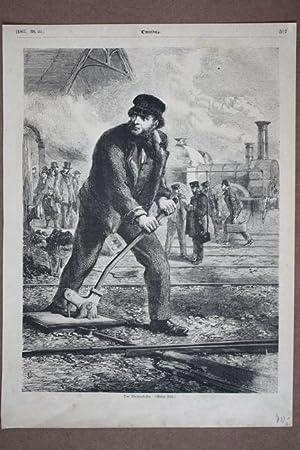 Der Weichensteller, Holzstich von 1867, Blattgröße: 30 x 21,5 cm, reine Bildgrö&...