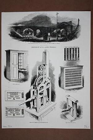 Fahrbilletdienst auf den englischen Eisenbahnen, Holzstich um 1840 mit 6 einzelnen Abbildungen zu ...
