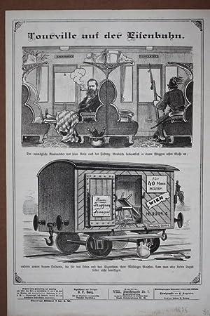 Tourville auf der Eisenbahn, großformatige Chemigraphie von 1875, ein vermögender ...