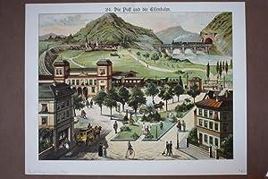Die Post und die Eisenbahn, schöne Farlithographie um 1880 mit tollem Blick auf eine Stadt mit...