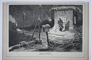 Bahnwärters Weihnachtsabend, Original Holzstich um1880 nach einer Originalzeichnung von P. P&...
