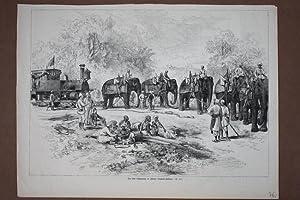 Die erste Lokomotive in Indore (Central-Indien), großformatiger Holzstich um 1875 mit 5 ...
