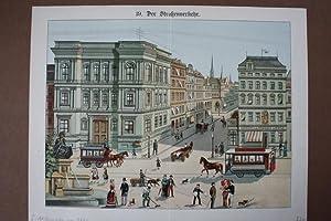 Der Straßenverkehr, schöne Farblithographie um 1880 mit Blick auf drei Straßenz&...