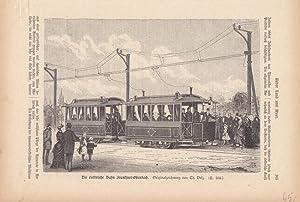 Die elektrische Bahn Frankfurt-Offenbach,Holzstich um 1885 mit seitlichem Blick auf die Bahn mit ...