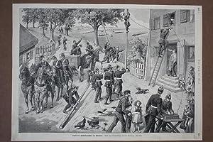 Legen des Feldtelegraphen im Manöver, Holzstich um 1890 nach einer Originalskizze von E. ...