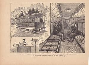 Die neue elektrische Straßenbahn zwischen Kew und Acton (London), Holzstich um 1885 mit drei ...