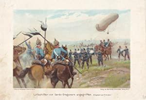 Luftschiffer von Garde-Dragonern angegriffen, schöne Chromolithographie um 1890 nach einem ...