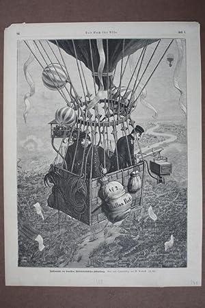 Heißluftballon, Ballonfahrt der deutschen Militärluftschiffer-Abtheilung, groß...