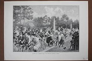 Radfahrer-Corso in der Villencolonie Halensee in Berlin, Holzstich von 1896 nach J. Akermark, ...