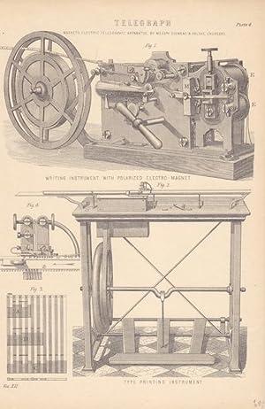 Telegraph, Magneto Electric Telegraph Apparatus, Holzstich um 1885, Blattgröße: 24,5 x ...