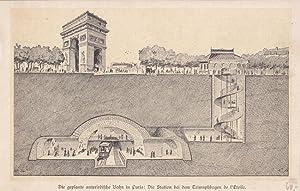 Die geplante unterirdische Bahn in Paris: Die Station bei dem Triumphbogen de l Etoile, schöne...