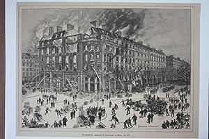 """Feuerwehr, Der Brand der """"Magasins du Printemps"""" in Paris, Holzstich von 1881 von ..."""