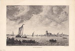 Blick auf Dordrecht, Vue de Dordrecht, Radierung um 1880 von Marie Duclos nach Jan van Goyen, ...