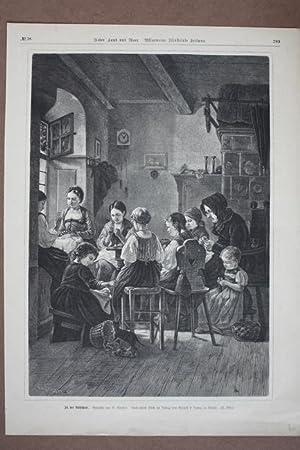 In der Nähschule, Mädchen sticken, Holzstich um 1880 nach dem Gemälde von B. Vautier...