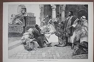Beim Teppichhändler, schöner Holzstich um 1880 nach dem Gemälde von G. Simoni, ...