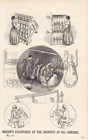 Spinnrad, Spindeln, Knights Cyclopaedia of the industry of all nations, Druckgraphik um 1850 mit 8 ...