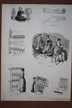 Seide, Seidenspinnerin, Holzstich um 1845 als Sammelblatt mit 7 Einzelabbildungen, Blattgrö&...