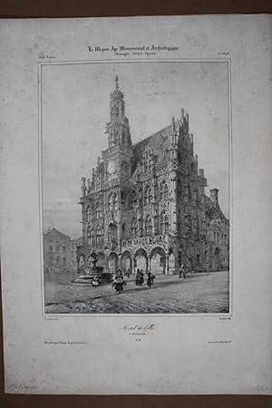 Rathaus, Hotel de Ville Oudenaarde, schöne teilkolorierte Lithographie um 1840 mit Blick auf ...