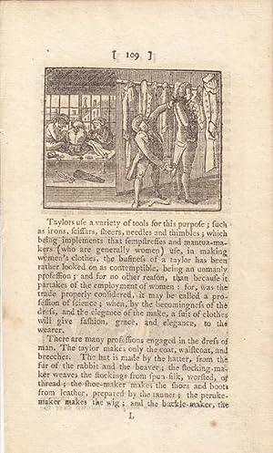 Herrenschneider, Maß nehmen, Kupferstich um 1790 mit kleinformatiger Abbildung, Blattgrö...