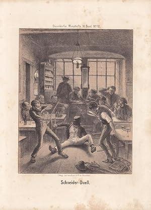 Schneider Duell, humoristische Lithographie um 1860, Blattgröße: 27 x 19,5 cm, reine ...