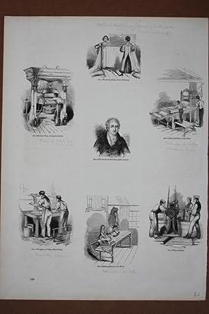 Kattunherstellung, Stoffdruck, Holzstich um 1845 als Sammelblatt mit 7 Einzelabbildungen, Blattgr&...