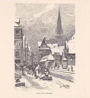 Partie auf der Steinstraße, Winter in Hamburg, Holzstich von 1880 von Klaus Bartels, Blattgr&...