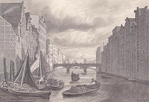 Blick auf die Hafenstadt in Hamburg, Stahlstich um 1850 mit Booten und Figurnestaffage, Blatt-, ...