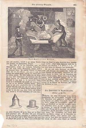 Hut, Zylinder, Filz, Doppelseite um 1840 mit Holzstichen zur Hutherstellung, Blattgröße:...