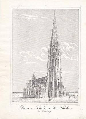 Die neue Kirche zu St. Nicolaus in Hamburg, Lithographie um 1850 von A. Roth bei C.W. Medau, ...