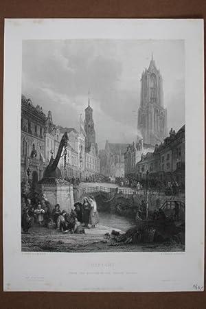 Stadtansicht Utrecht, original Stahlstich um 1850 von E. Challis nach G. Jones, Blattgrö&szlig...