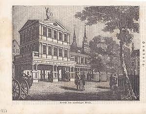 Ansicht der Hamburger Börse, Holzstich um 1860, Blattgröße: 18 x 23 cm, reine ...