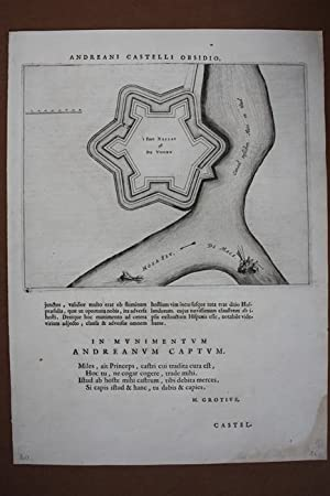 Andreani castelli obsidio, Kupferstich um 1650 mit Blick auf die Festungsanlage an Wasserwegen, ...