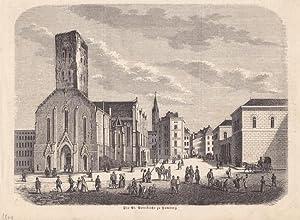 Die St. Petrikirche zu Hamburg, schöner Holzstich von 1849 mit Blick auf den belebten Platz ...