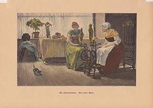 Die Spinnerinnen, altkolorierter Holzstich von 1884 von Karl Marr (1858 - 1936), Blattgrö&...