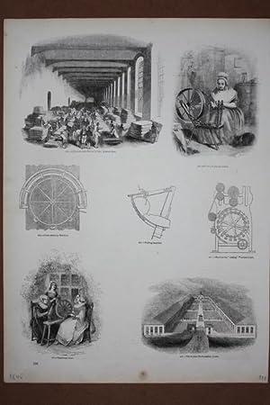 Spinnrad, Spinnerin, Wolle, Holzstich um 1850 mit 7 Einzelgraphiken, Blattgröße: 35 x ...