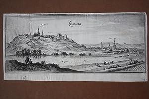 Limburg, breitformatiger Kupferstich um 1659 von Merian mit Blick auf die Stadt über den Fluss...