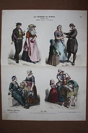 Zur Geschichte der Kostüme, zwanzigster Bogen zu Holland, altkolorierter Holzstich von 1868&#...
